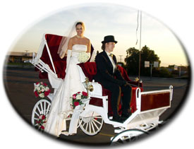 white wedding carriage with bride