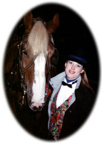 headshot of Belgian draft horse and carriage driver